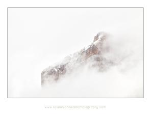 Dolomites mountain top with mist, val de Fane